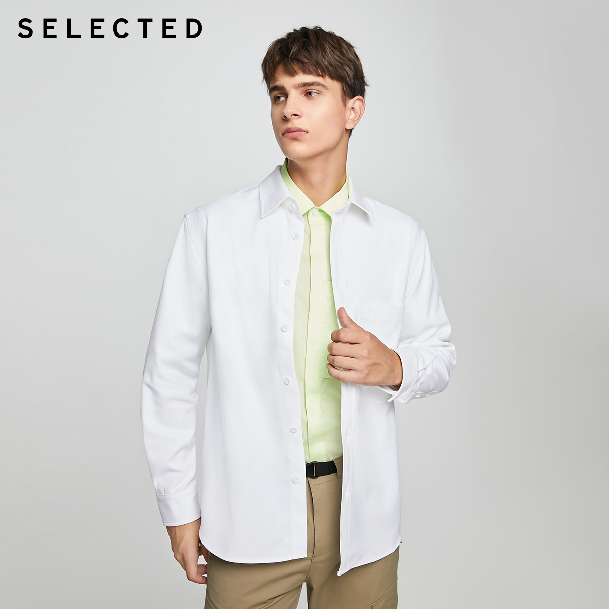 SELECTED Slade solid-colored bright line chest pocket trend fall shoulder casual long-sleeved shirt men's S) 420405002