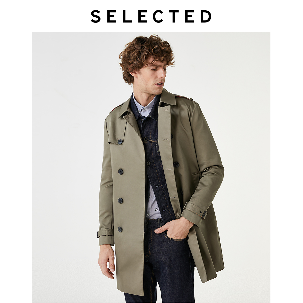 SELECTED Slade's new trend British line with medium-length casual trench coat jacket male I) 4193OM512