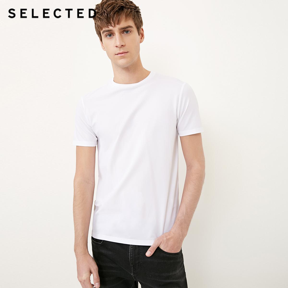 Собирать SELECTED мысль сорняки мораль мужчина многофункциональный быстросохнущие ткань круглый вырез бизнес повседневный T футболки SP|4181T4547
