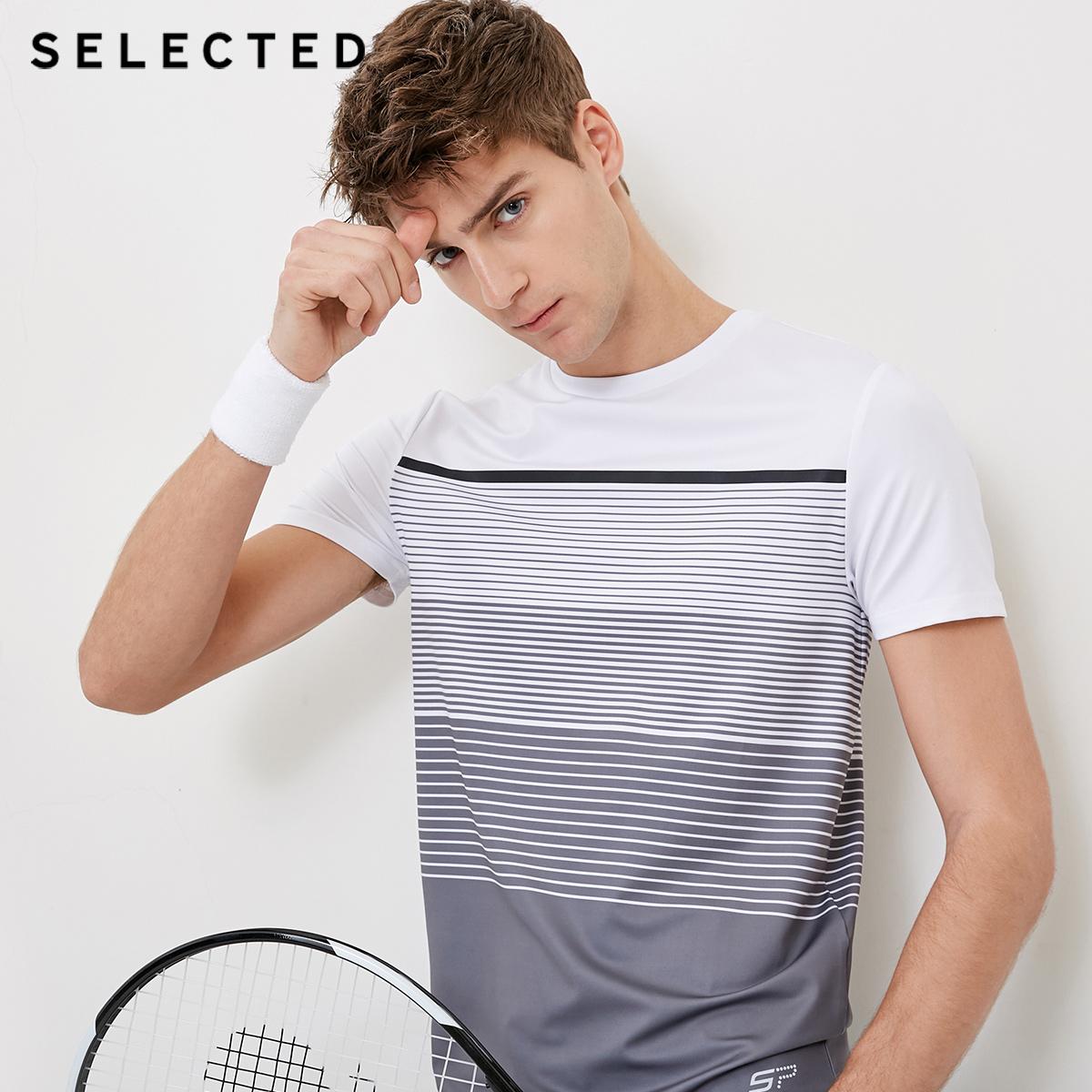 Собирать SELECTED мысль сорняки мораль мужской новый эластичность движение быстросохнущие антистатический вязание T футболки C|4181T4546