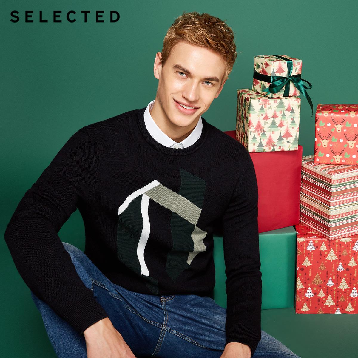 Собирать SELECTED мысль сорняки мораль шерсть смешивание тенденция сращивание мода мужчина свитер свитер S|418124523