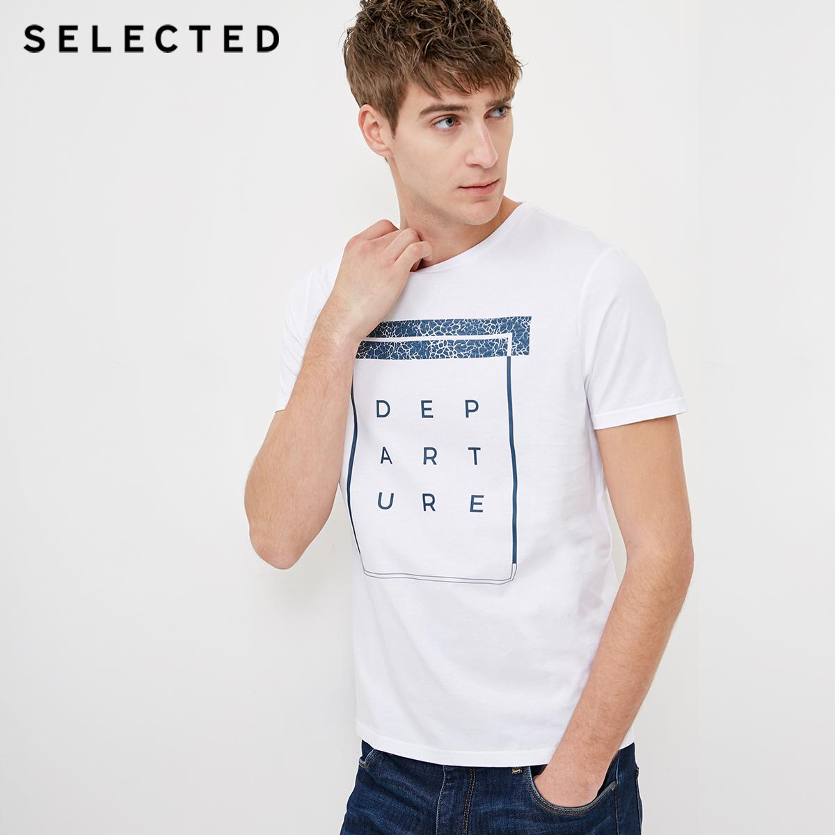 Собирать SELECTED мысль сорняки мораль хлопок мужчина трехмерный алфавит круглый вырез случайный короткий рукав T футболки C|4182T4530