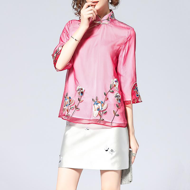 短款改良旗袍女夏装2018新款真丝欧根纱重工刺绣宽松显瘦短款上衣