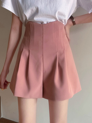 taobao agent Summer 2021 new casual black suit shorts female thin section high waist was thin loose a word wide leg hot pants trend
