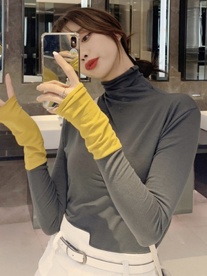 taobao agent Net celebrity piles of semi-high collar bottoming shirt women in spring, autumn and winter wear fashionable western-style thin T-shirt tops ins super hot trend