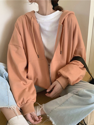 taobao agent Hooded sweater women's spring and autumn thin zipper jacket 2021 new loose Korean long-sleeved clothes trendy ins