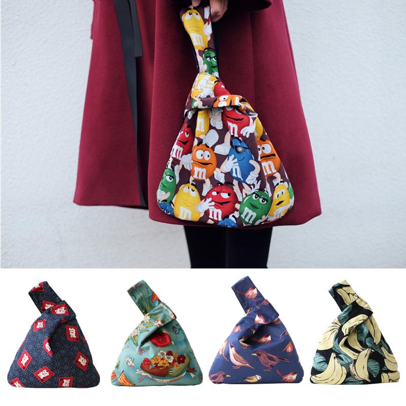 大号包邮 手工自制日式和风布艺套结手腕袋便携便当手提袋挽手包 Изображение 1