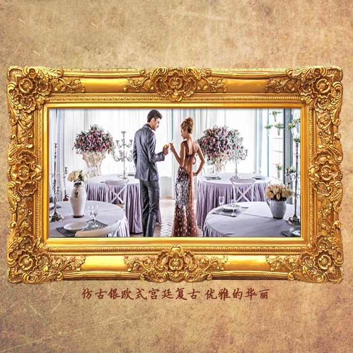 European Style Wall Mounted Large Wedding Photo Frame Painting Golden Rectangle
