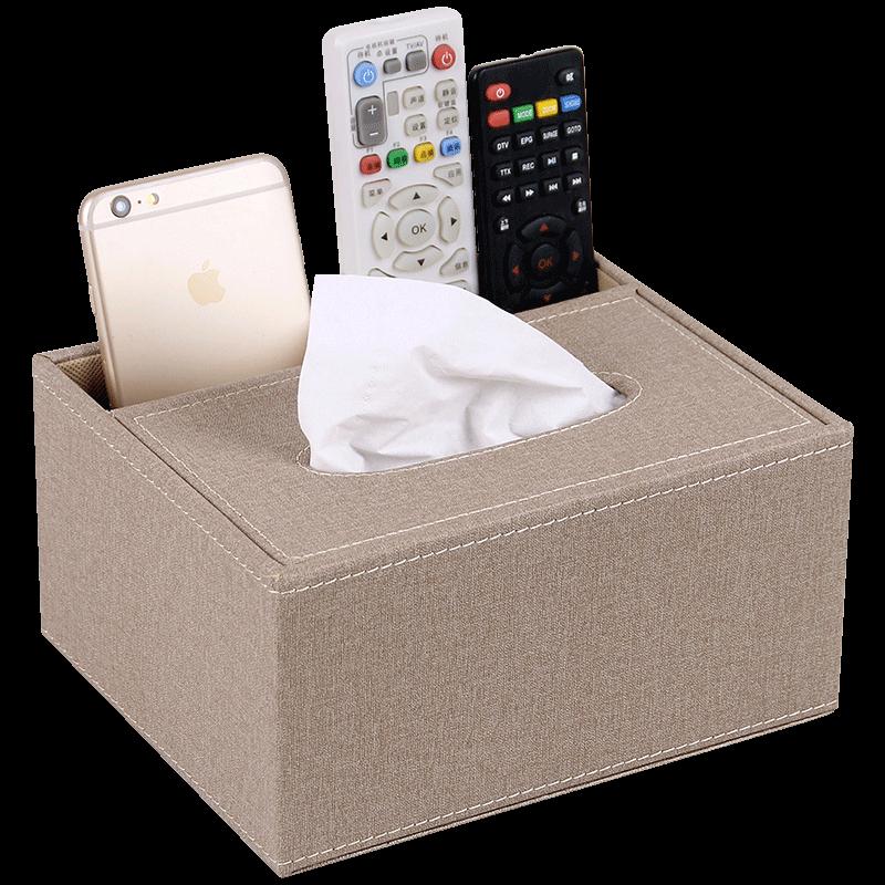 欧式家用纸巾盒客厅茶几创意皮革桌面遥控器收纳盒北欧简约抽纸盒