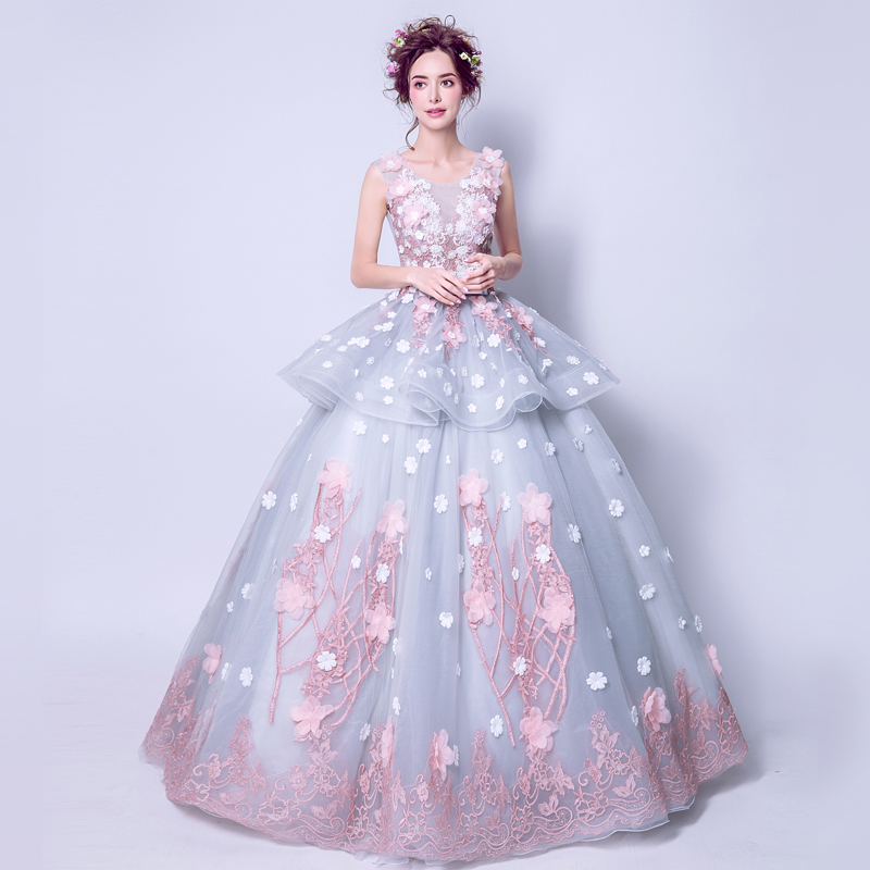 Fairy Alice In Wonderland Three Dimensional Flower Princess Bride Wedding  Dress Toast Clothing Costume 2352