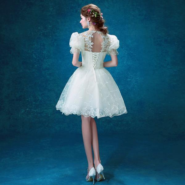 Angel Wedding dress White Puff Sleeve Bride Bridesmaid Short Halter ...