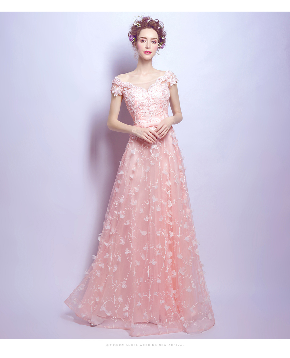 Fuchsia Gown: Pink Lace Petal Bridal Gown Wedding Dress Butterfly