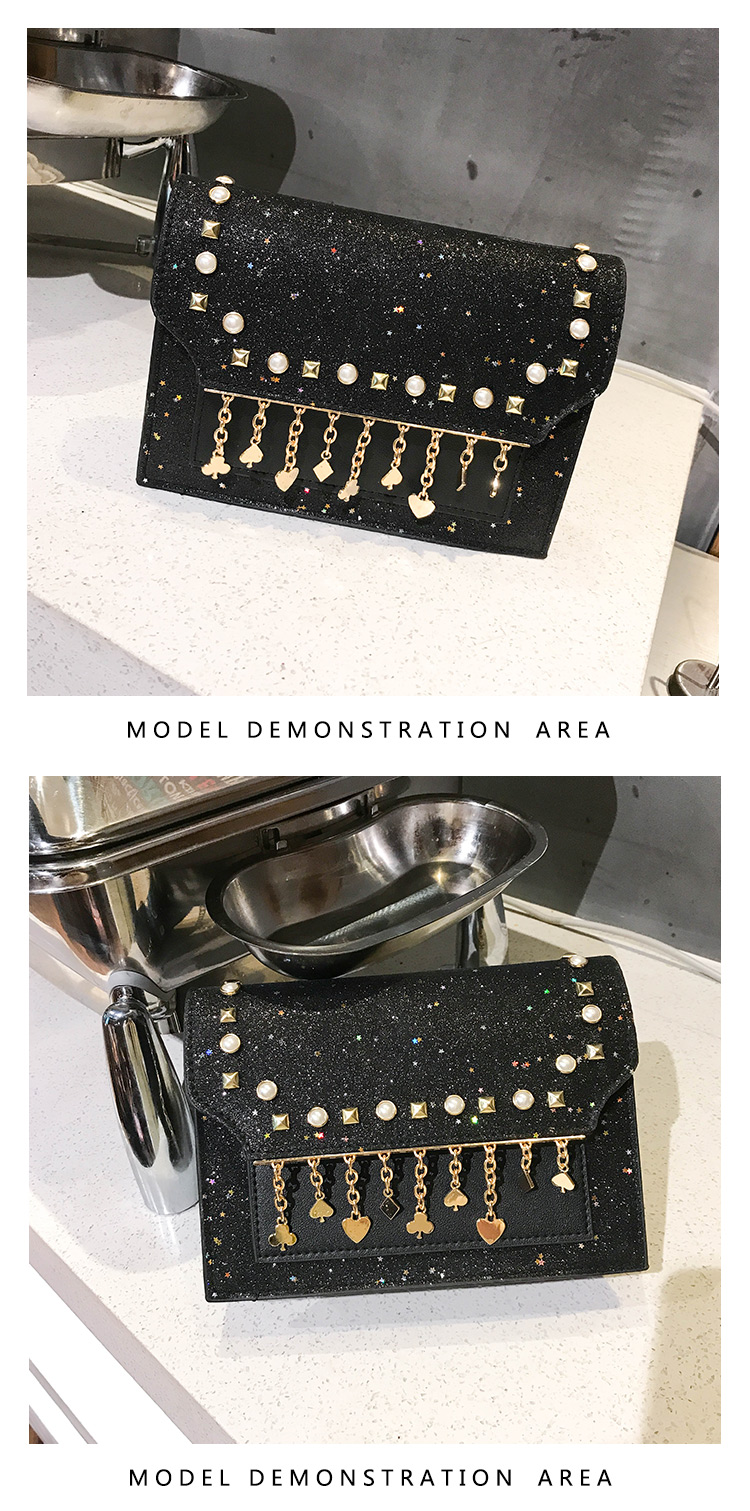 TATA New Fashion Women Shoulder Bag Chain Strap Handbags Clutch Bag Ladies Messenger Bags black one size 14