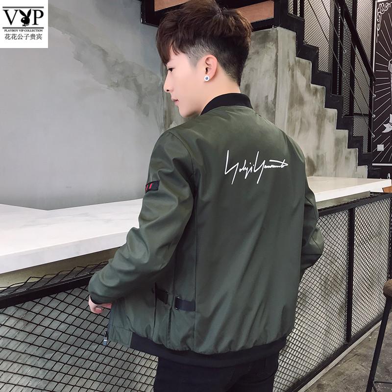 花花公子贵宾2018新款M-8XL码男士夹克休闲潮流上衣修身时尚外套V