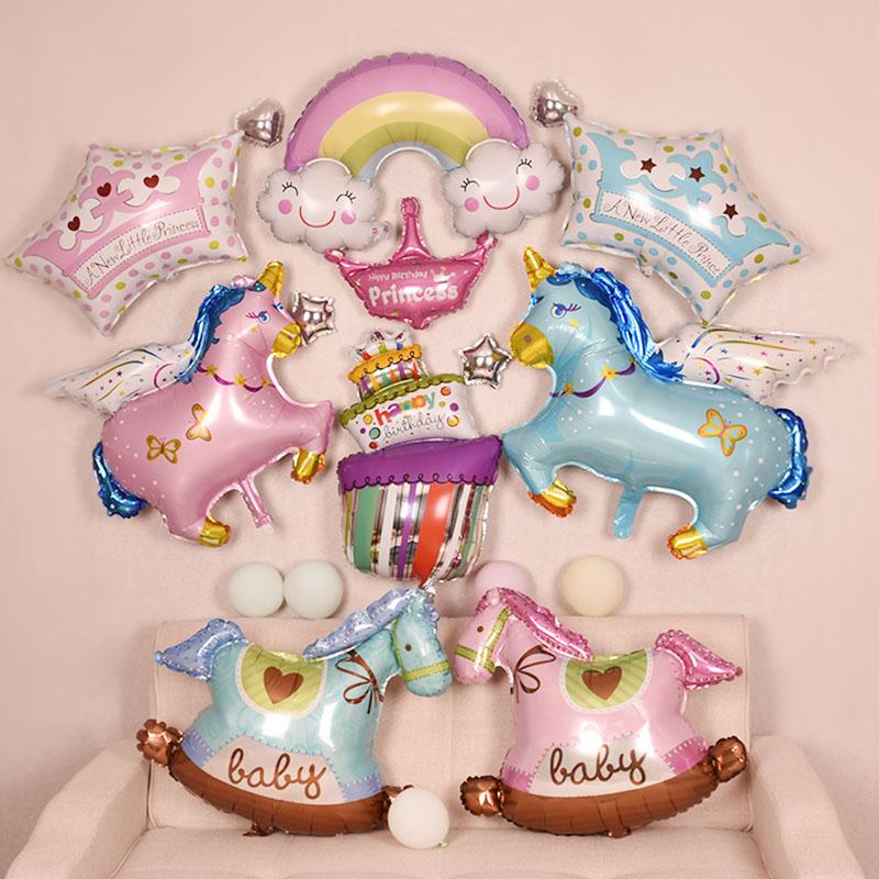 可爱宝宝铝膜木马生日装饰派对气球飞马卡通周岁布置装饰迷你气球