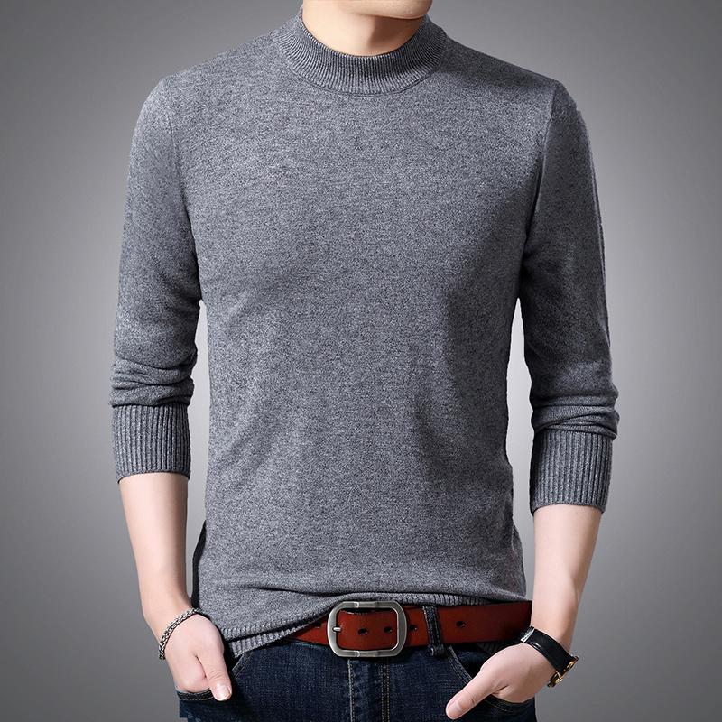 啄木鸟冬季男士长袖毛衣男修身半高领韩版线衫男装打底毛衫
