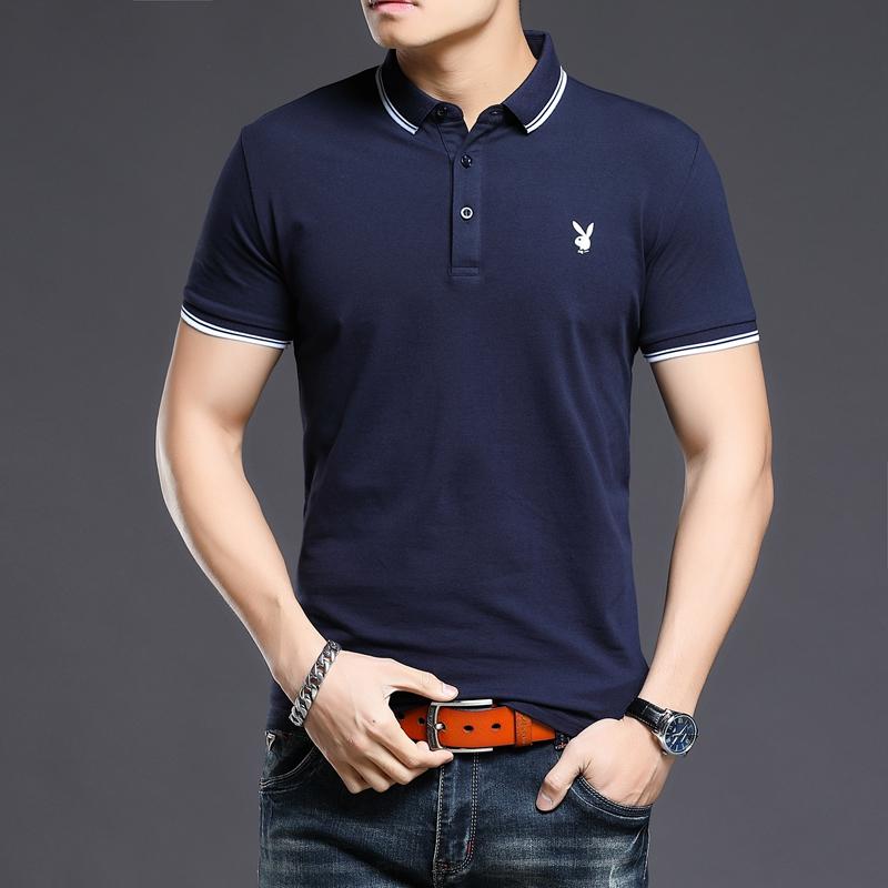 高端男士短袖T恤夏季薄款休闲上衣半袖衣服体恤衫夏装POLO衫
