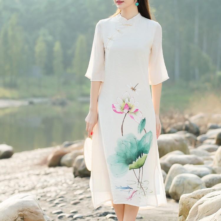 皇家姐妹实拍2016春装新款中国风手绘改良旗袍仙女范连衣裙