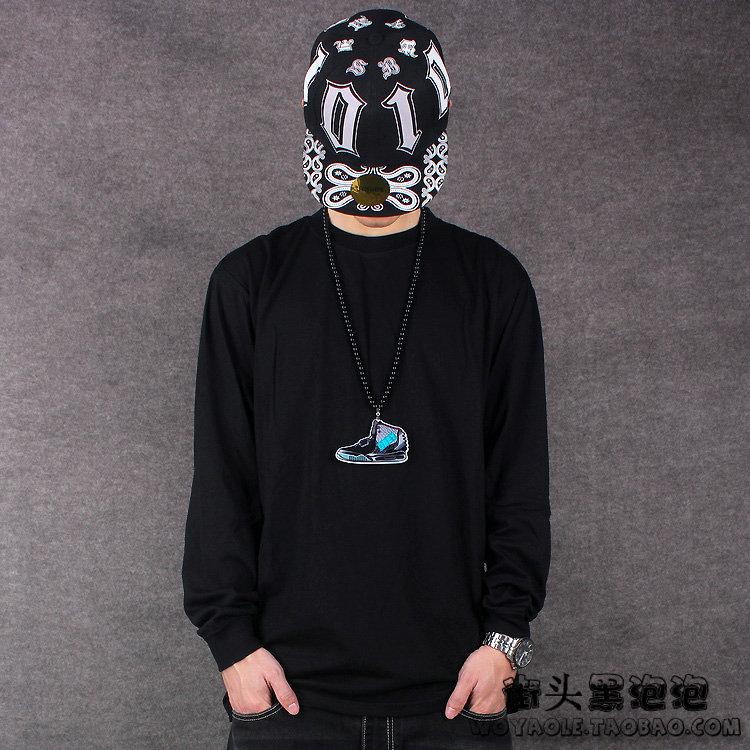Màu rắn đường phố cao HIPHOP street dance skateboard hip hop dài tay T-Shirt đáy áo sơ mi lỏng XL nam triều áo sơ mi cửa hàng bán áo thun nam cao cấp
