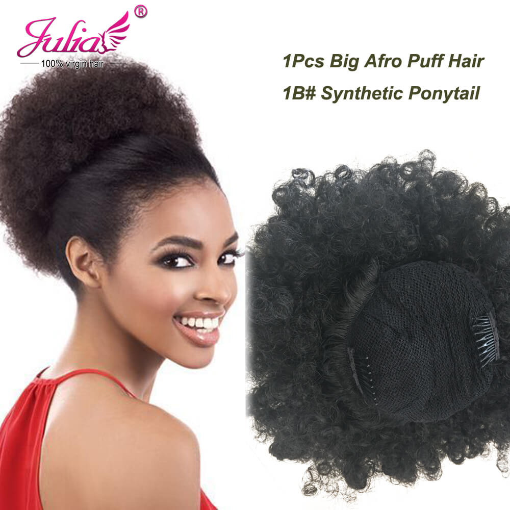 clip-in afro puff curly ponytail synthetic fiber kinky wig