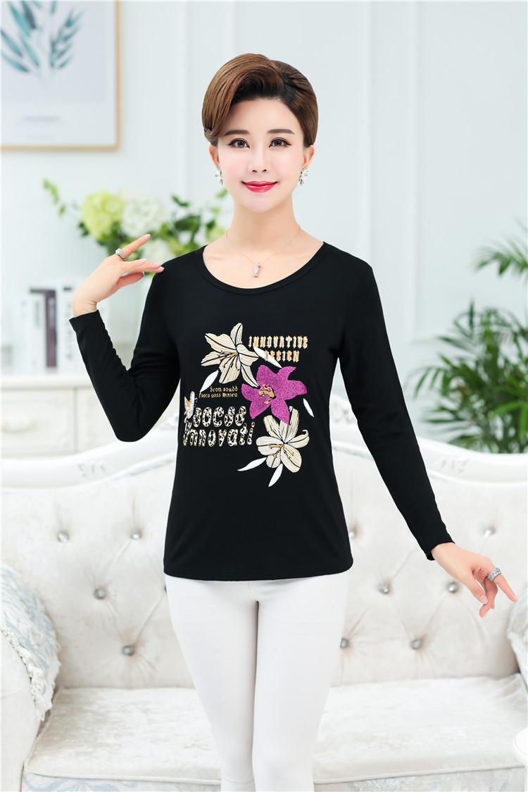 Mới mùa xuân và mùa hè ngắn tay cổ tròn t-shirt nữ phương thức cotton shirt loose mẹ ăn mặc giản dị trung niên áo