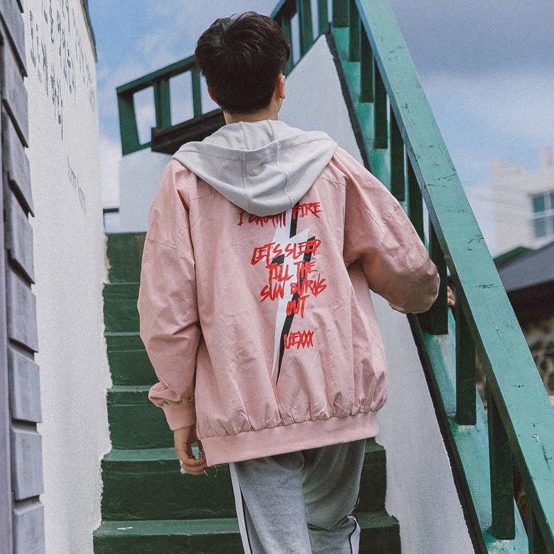 【特价】学院风假两件连帽宽松夹克男潮春装韩版青年休闲衣服外套