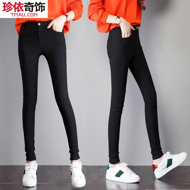 2018 new wild high waist women wear tight feet pencil leggings black summer thin section was thin large size