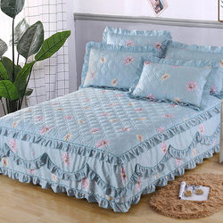 Cotton thick quilted bed skirt bed cover single piece non-slip bedspread protective cover dust cover 1.5m1.8m bed sheet