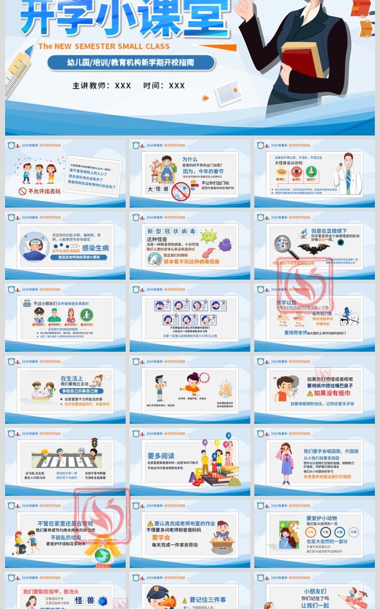 幼儿园中小学生新型冠状病毒肺炎防御知识课件PPT模板开学第一课插图14