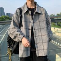 Японский осень-зима сезон новая коллекция шерсть клетчатый ветровка мужской корейская версия модные ins куртка Дикий гонконгский стиль винтаж пальто