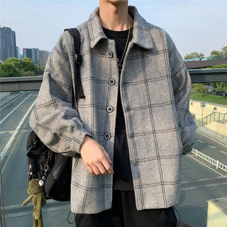 Japanese spring and autumn new woolen plaid windbreaker male Korean version of the trend ins jacket Hong Kong wind wild retro coat
