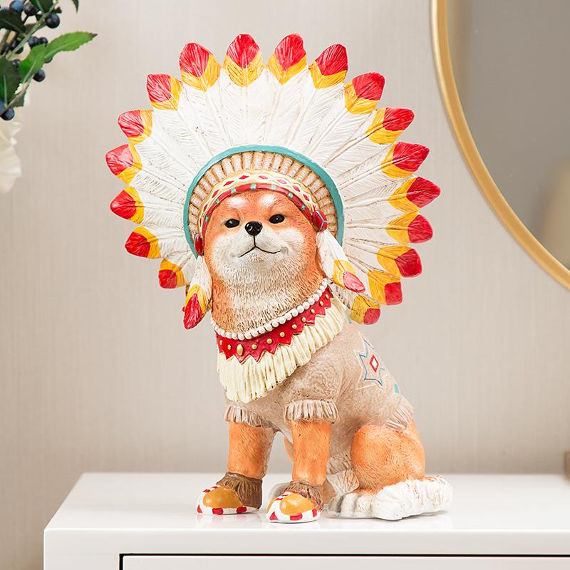 创意客厅个性装饰品摆件柴犬民宿电视柜桌面家居玄关摆设男生礼物