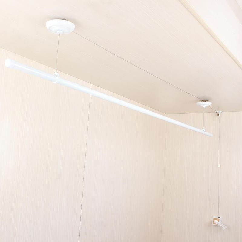 单杆晾衣架手摇升降白色晾衣架室内外晒衣架晾衣杆阳台自动晒被架