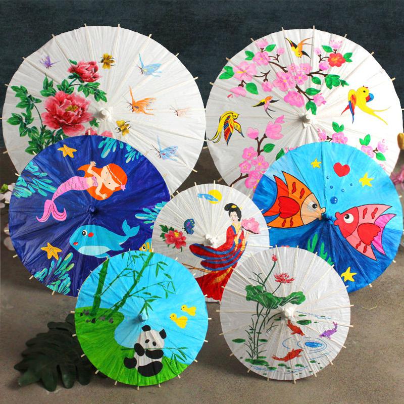 空白油纸伞diy材料 儿童手工制作幼儿园中国风绘画雨伞小手绘玩具