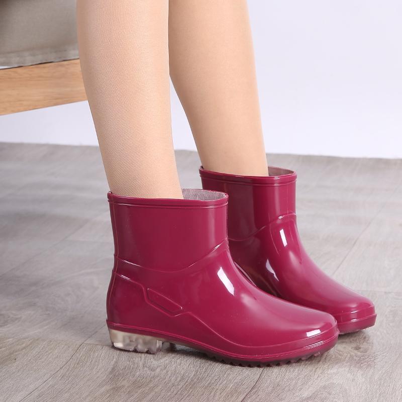 防水鞋女士雨靴短筒雨鞋男胶鞋劳保防滑轻便夏加绒时尚款外穿雨鞋
