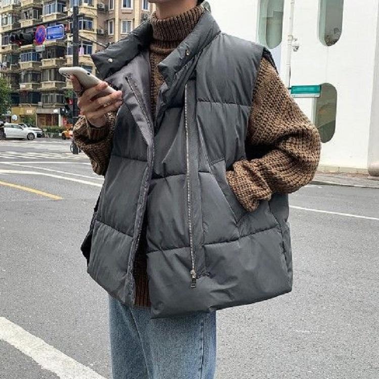 棉马甲男ins冬季韩版宽松潮流百搭加绒加厚保暖无帽立领背心外套