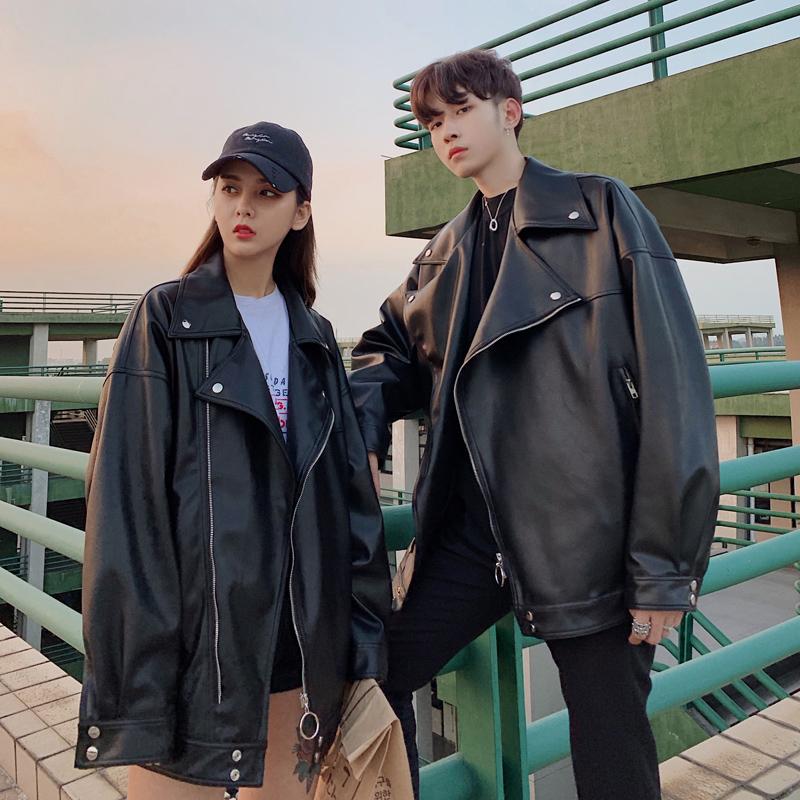 Phong cách Hồng Kông mùa xuân mới Hàn Quốc lỏng lẻo cặp đôi đầu máy quần áo da nam áo khoác da xu hướng đẹp trai - Cao bồi