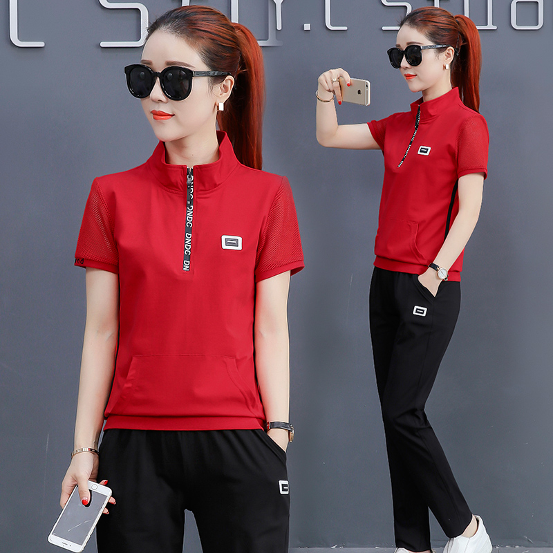 24e5788c22da Summer sports suit female summer 2018 new fashion Korean version of the  loose short-sleeved trousers casual wear two sets of tide