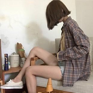 Retro შეასრულა პერანგი ქალი გაზაფხულზე და ზაფხულში კორეის ვერსია chic ველური ფხვიერი თხელი BF ხანგრძლივი sleeved cardigan ქურთუკი ქურთუკი ტალღა