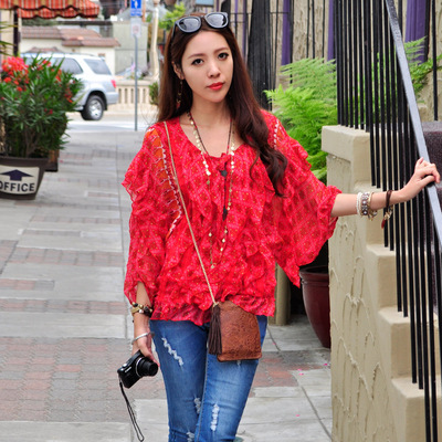T-Baby European Station 2018 spring new women's red floral chiffon shirt blouse bat sleeve flouncing