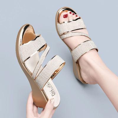 05粗跟仙气高跟鞋2021新款女凉鞋新款春夏韩版舒适中空一字带高跟