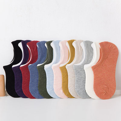 Socks women's socks shallow mouth invisible low-waist silicone non-slip bed socks summer thin cotton low-cut boat socks can not drop the heel
