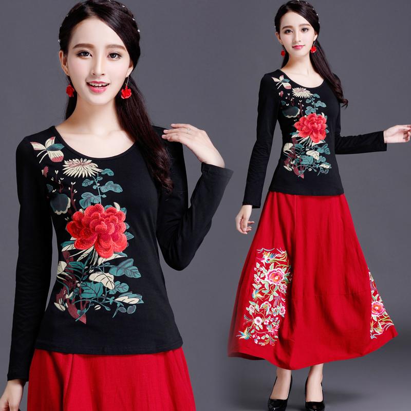 Phong cách quốc gia của phụ nữ áo sơ mi mùa hè thêu ngắn tay t-shirt nữ cotton phong cách Trung Quốc thêu kích thước lớn Slim đáy áo