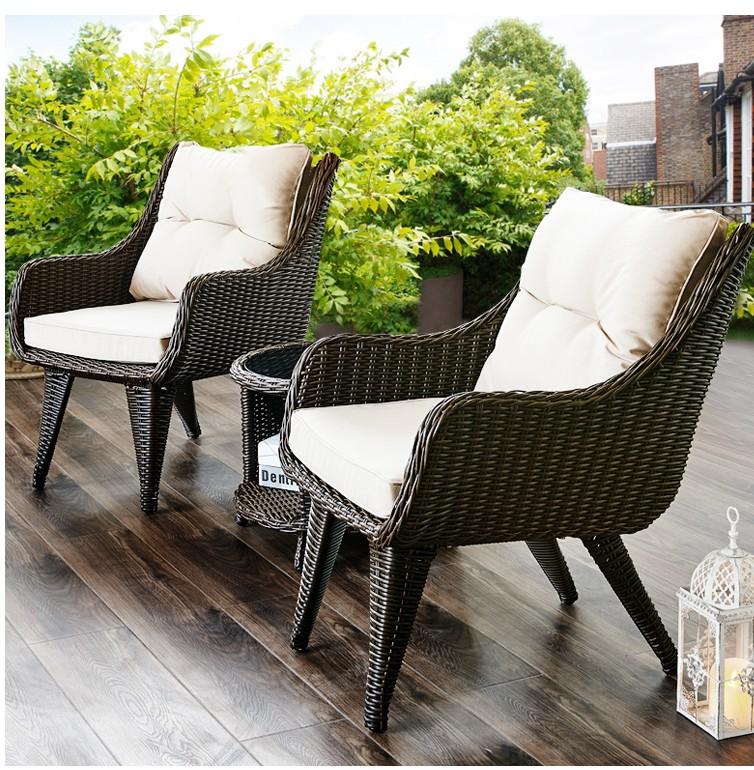 Ban công ngoài trời giải trí bàn ghế mây ba mảnh sân vườn ngoài trời nội thất mây đơn giản bàn ghế mây tròn - Bàn ghế ngoài trời / sân