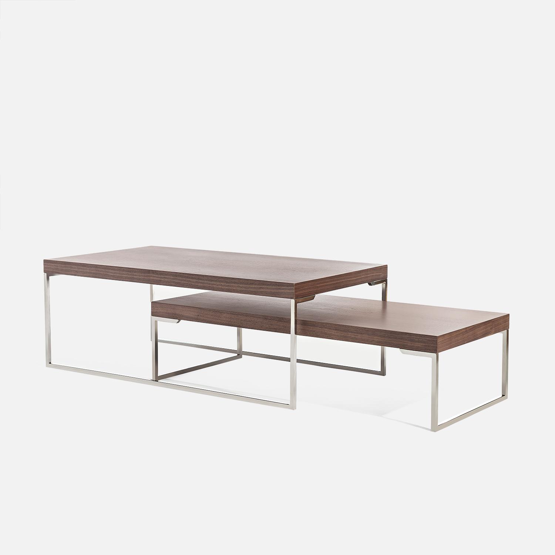 Và nội thất gỗ Kết hợp cao và thấp hiện đại tối giản chân thép không gỉ chân gỗ rắn da trắng gỗ sồi đen bàn cà phê gỗ óc chó CJ020 - Bàn trà