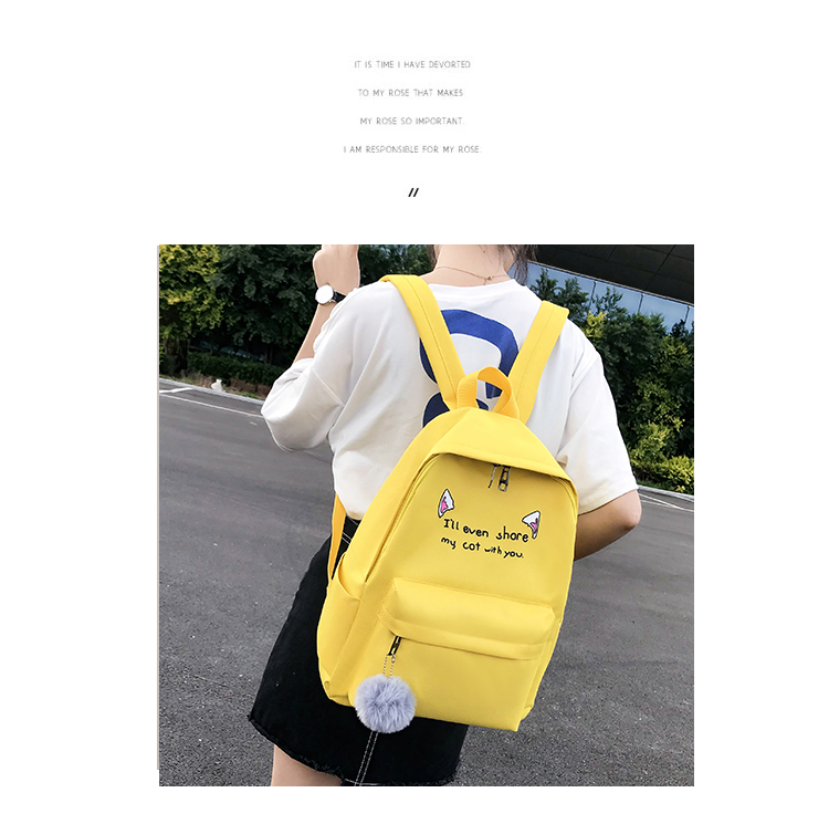 Cute WeekendTravel Bag School Backpack for Girls Canvas Fashion Casual Four Piece Set Letter Bags Yellow one size 21