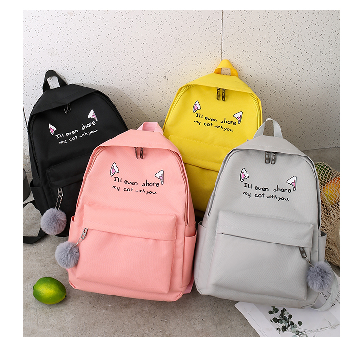 Cute WeekendTravel Bag School Backpack for Girls Canvas Fashion Casual Four Piece Set Letter Bags Yellow one size 27