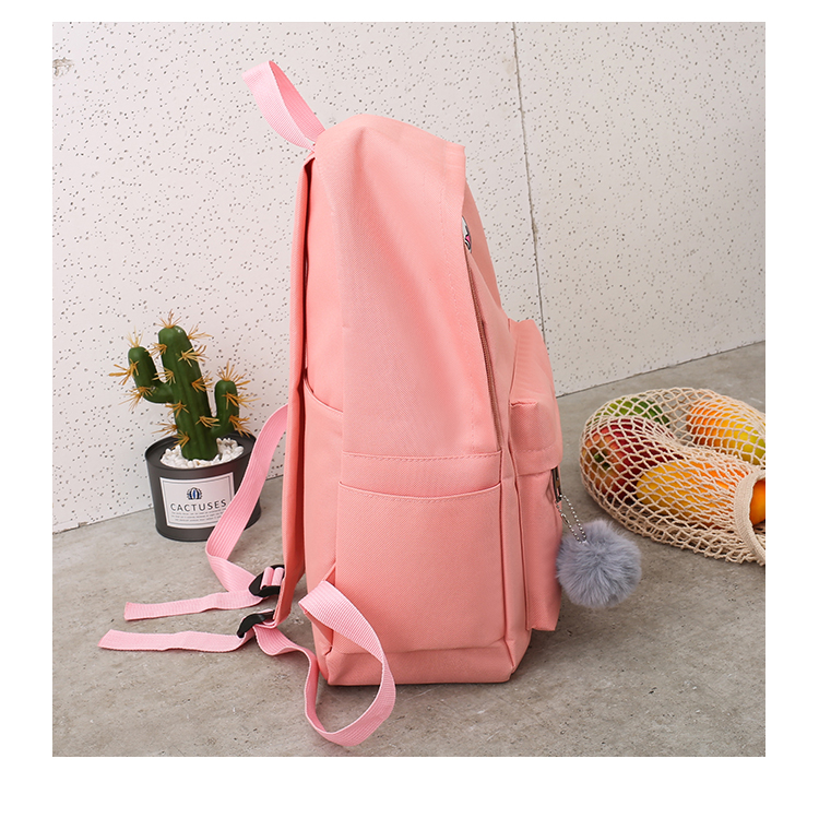 Cute WeekendTravel Bag School Backpack for Girls Canvas Fashion Casual Four Piece Set Letter Bags Yellow one size 36