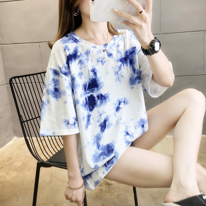 實拍 2020夏季新款扎染短袖T恤女