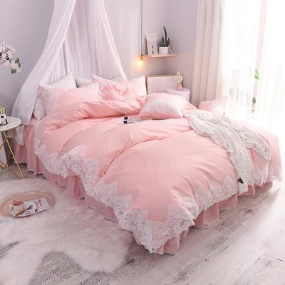 蕾丝公主风纯棉床上四件套全棉韩版简约1.8床双人被套床单床裙款